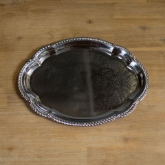 Rental store for TRAY, PEWTER OVAL ORNATE TRAY 17 X 29 in Camarillo CA