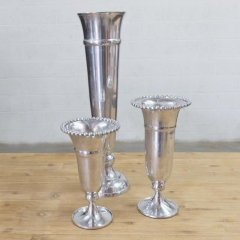 Where to rent VASE, SILVER BEADED TRIM 14 in Camarillo CA