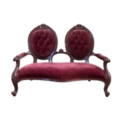 Rental store for VINTAGE, SETTEE BURGUNDY VELVET TUFTED in Camarillo CA