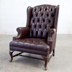 Rental store for VINTAGE, CHAIR LEATHER BURGUNDY WINGBACK in Camarillo CA