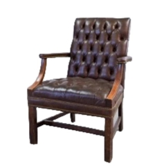 Rental store for VINTAGE, ARM CHAIR BROWN TUFTED LEATHER in Camarillo CA