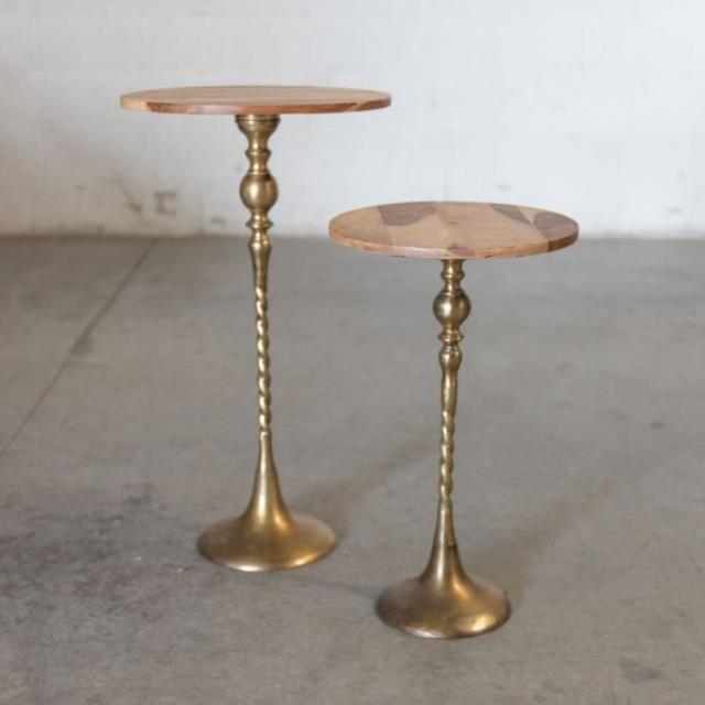 Where to find LOUNGE, TABLE SIDE WOOD W  BRASS PED SM in Camarillo