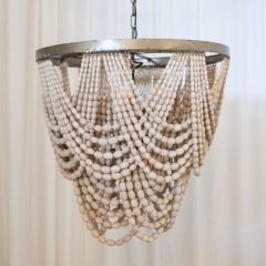 Rental store for LIGHT, CHANDELIER BEADED WOOD IVORY in Camarillo CA