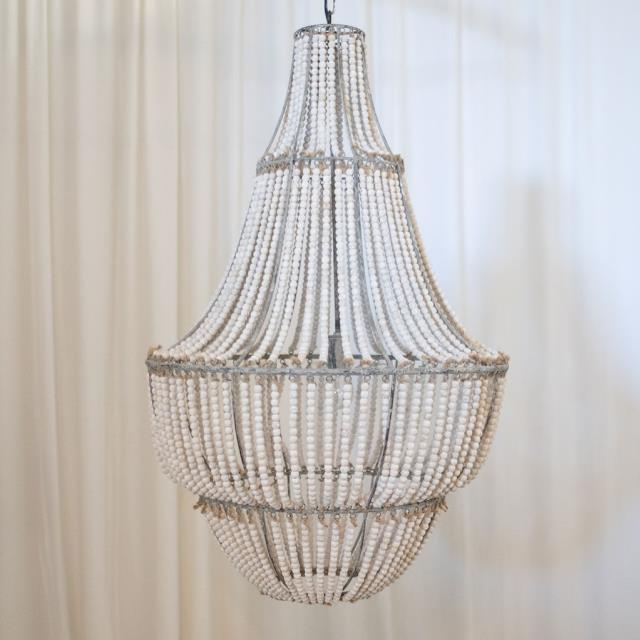 Where to find LIGHT, CHANDELIER BEADED WOOD WHITE WASH in Camarillo