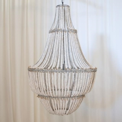 Rental store for LIGHT, CHANDELIER BEADED WOOD WHITE WASH in Camarillo CA