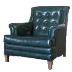 Rental store for VINTAGE, ARM CHAIR GREEN LEATHER TUFTED in Camarillo CA