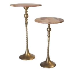 Rental store for WOOD W  BRASS PEDESTAL SIDE TABLES in Camarillo CA